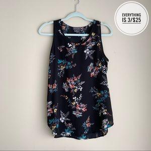 Van Heusen Black Floral Blouse Tank Top Size MD